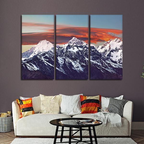 Himalayan Sunset Multi Panel Canvas Wall Art Multi Canvas Painting Canvas Wall Art Wall Canvas