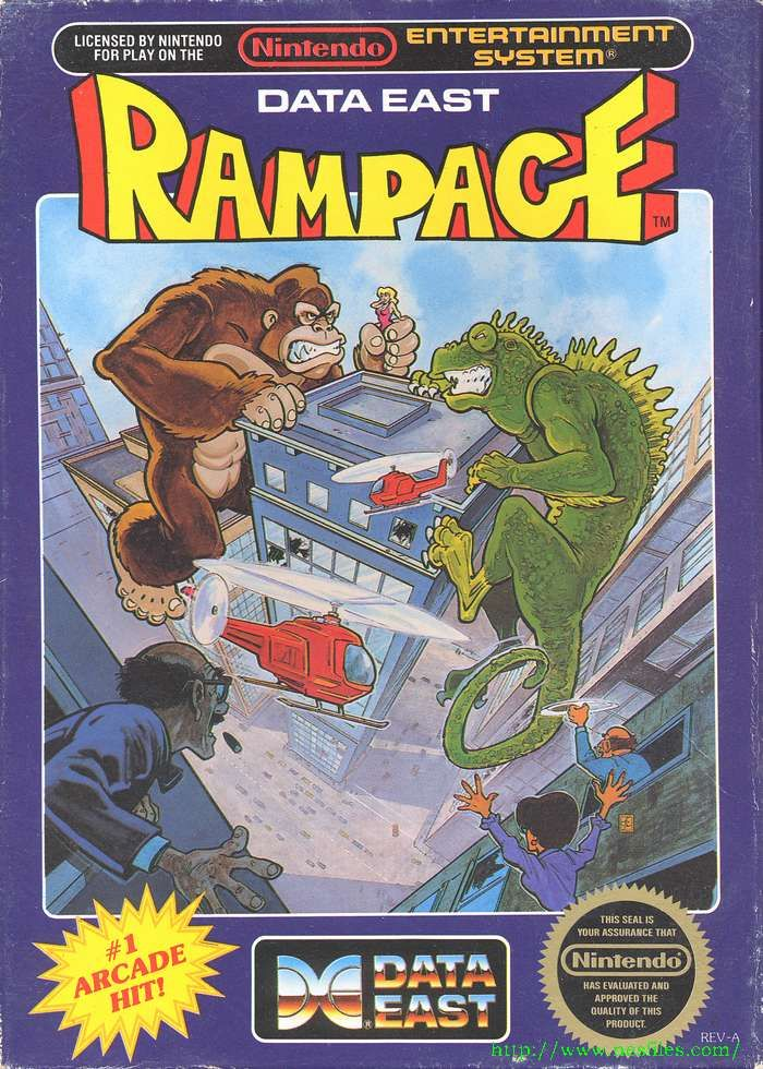 Rampage - NES. Because who doesn't want to be a huge monster destroying a city?