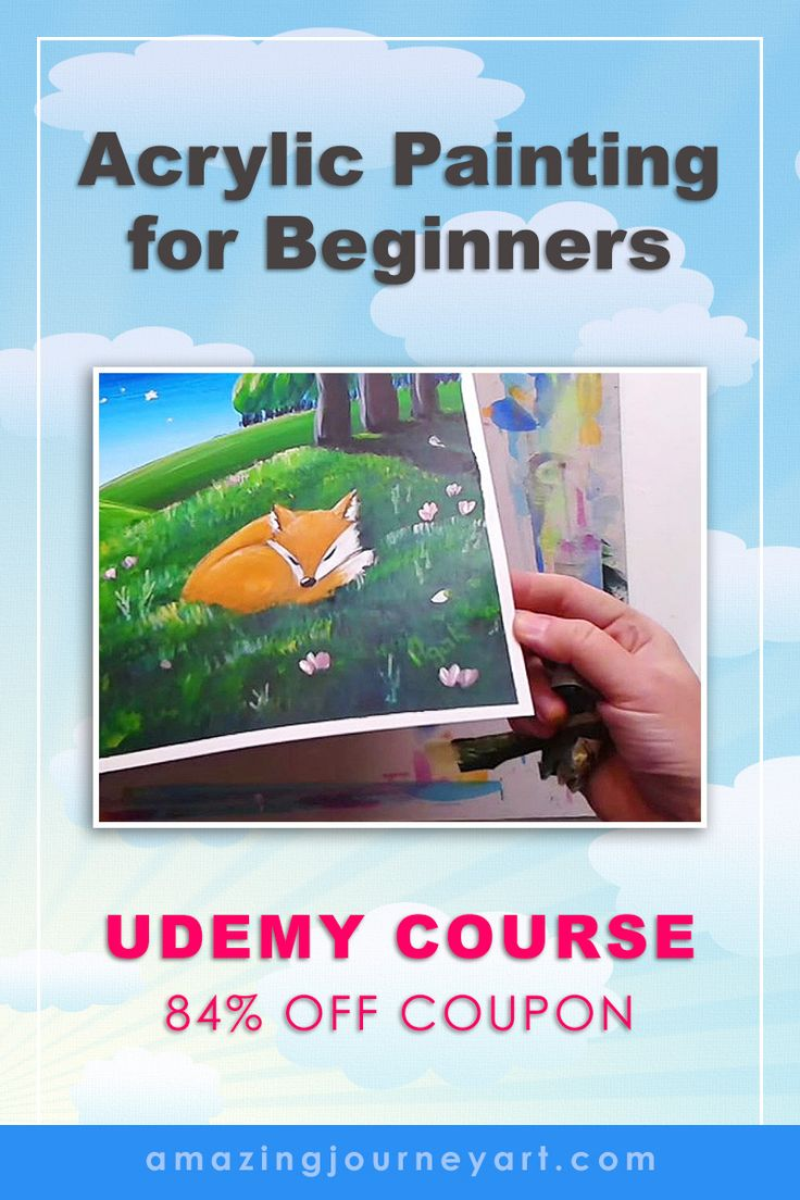 Acrylic painting for beginners: Dreamy Stories Told with Paint -  Easy art course for kids and adults of all ages with a free painting lesson and free art printables (Udemy course with 84% off  Udemy coupon) | WHAT'S INSIDE: DIY stay wet palette. Finding acrylic painting ideas. Art composition tips. Painting animals and drawing from reference. Acrylic painting techniques (layer painting technique). How to tell stories through paint. | More online art classes coming soon!  #amazingjourneyart
