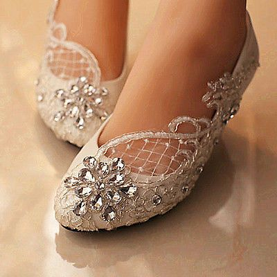 Lace white ivory crystal Wedding shoes Bridal flats low high heel pump size 5-12 in Clothing, Shoes & Accessories,Wedding & Formal Occasion,Bridal Shoes | eBay