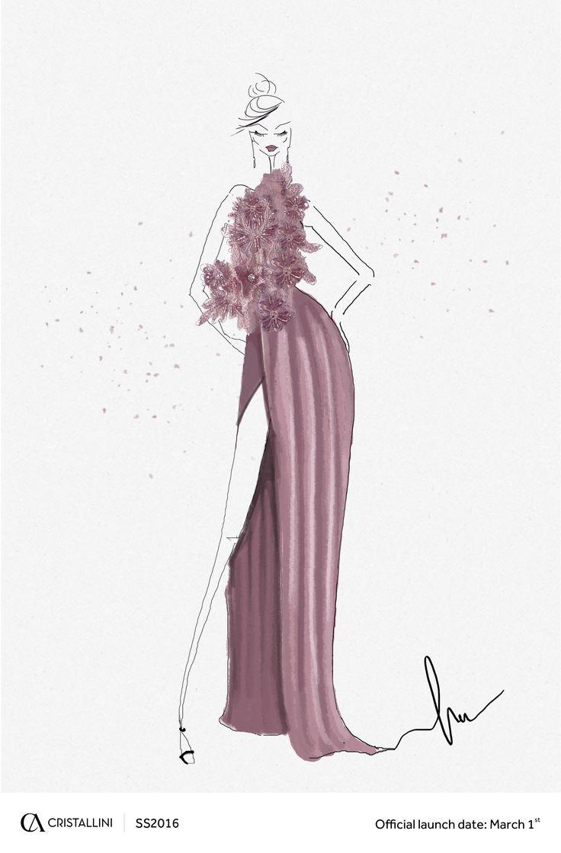 CRISTALLINI  #fashion #sketch #eveningdress