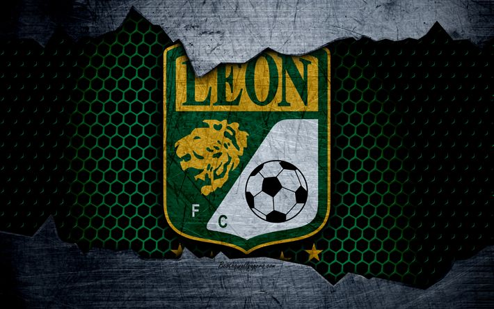 Download wallpapers Leon, 4k, logo, Liga MX, soccer, Primera Division, football club, Mexico, grunge, metal texture, Leon FC