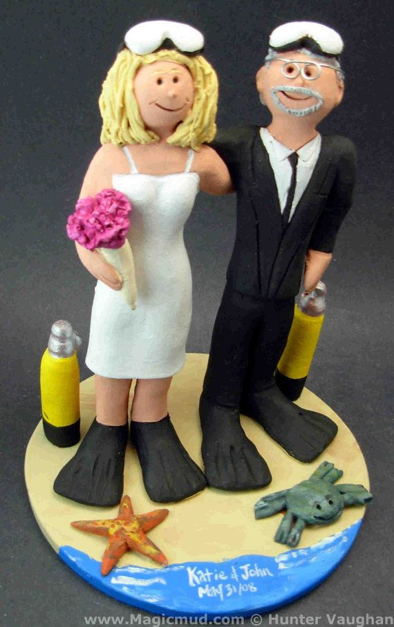 Scuba Diving Bride and Groom Cake Topper    Scuba Diving Wedding Cake Topper, custom created for you! Perfect for the marriage of a Skin Diving Groom and his Bride!    $235   #magicmud   1 800 231 9814   www.magicmud.com