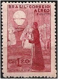 Selo brasileiro, comemorando Bartolomeu de Gusmão.