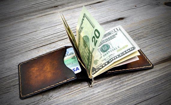 Leather Money Clip Wallet. Handmade Money Clip Wallet. by Odorizzi