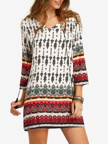 Kleid langarm mit Stammes-Druck und Schleife am Ausschnitt -mehrfarbig
