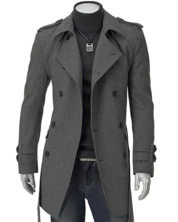 Double Breasted Button Men Trench Coat