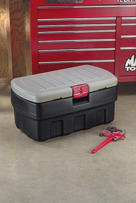 amazoncom rubbermaid lockable storage box 48 gallon grey and black
