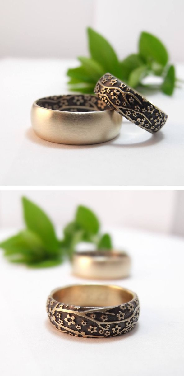 Handmade 14k yellow gold Cherry Blossom wedding band set by Chuck Domitrovich of Down to the Wire Designs.