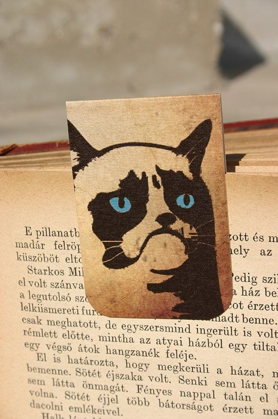 Magnetic bookmark Grumpy cat  cat illustration by GuBoArtBook