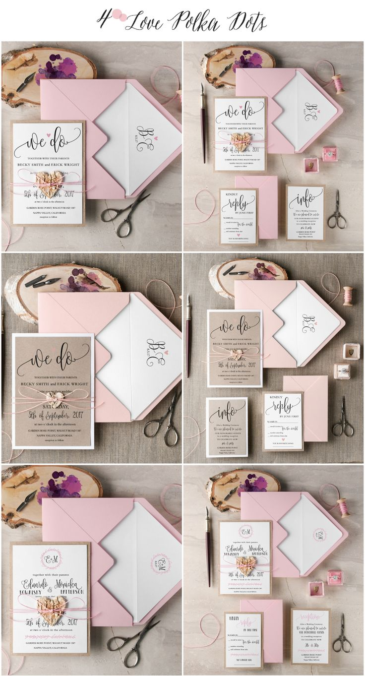 Find your perfect design with these Rustic Pink Calligraphy Wedding Invitations