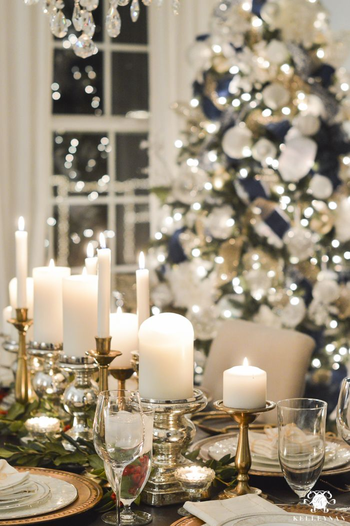 Mixed metal candleholder table scape.  Kelley Nan: Blogger Progressive Dinner: Christmas Edition | The Entree