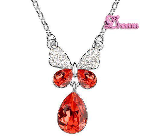 Spedizione gratuita sacchetto del regalo, hotselling classico cristallo collana pendente a farfalla abito da sposa/partito regalo/insieme dei monili, 5341q