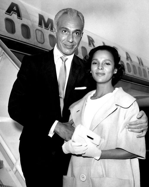 Dorothy Dandridge arriving with her second husband, Jack Denison at Idlewild Airport in New York on June 23, 1959, a day after their wedding in Los Angeles. They arrived via an American Airlines 707 jet flagship. The two were in town for the premiere of Dorothy's film Porgy and Bess.