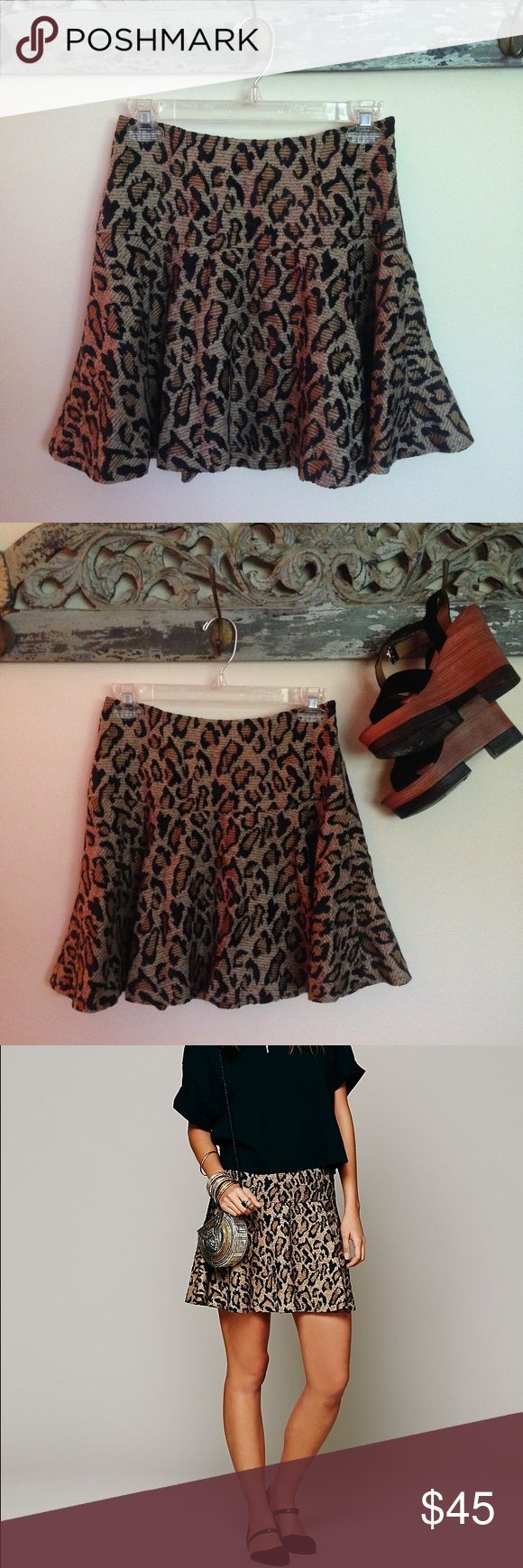 Free People Chenille Cheetah Skirt Super cute and feisty FP skirt. 75% rayon, 25% polyester. 100% cotton lining on waistband. It's a bit loose on me, but I can still model if you'd like 😊 Sorry, no trades!! Free People Skirts Circle & Skater