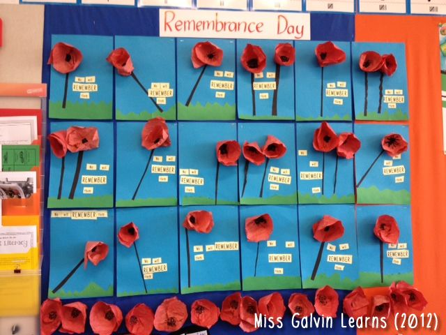 A simple but striking Remembrance Day display using 3D poppies.