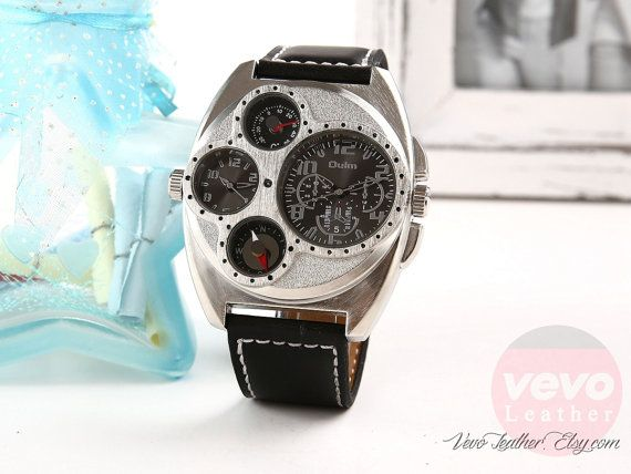 Mens Military Watches Army Awesome Leather Sports by VevoLeather