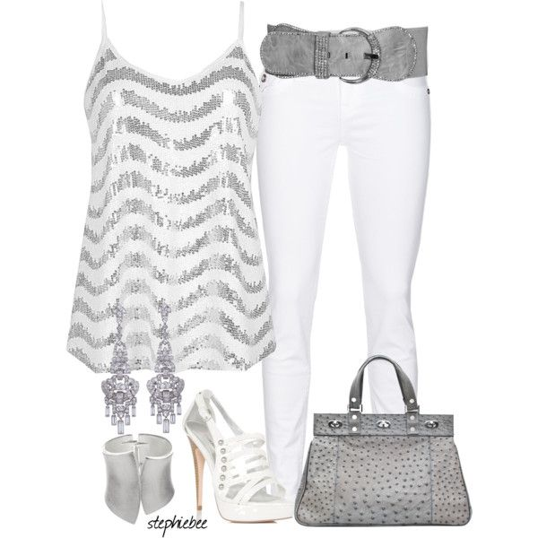 White and Silver by stephiebees on Polyvore I would do this without the belt and with a closed toe pump.