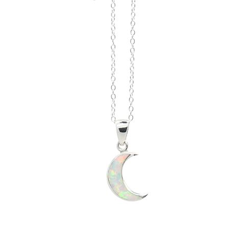 New Moon. White Opal Crescent Silver Necklace - REGALROSE | SHOP Fashion Jewellery & Accessories