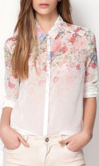 Long sleeve print chiffon blouse D2018006