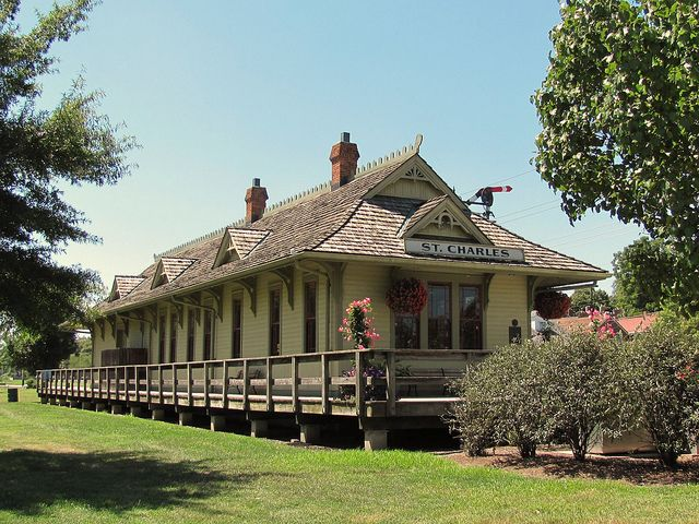 train station along Katy Trail in St Charles, Missouri