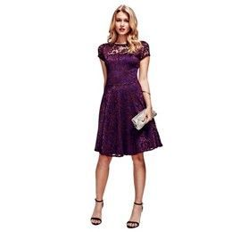 Purple Lace Fit n Flare Dress with Thermal Lining …