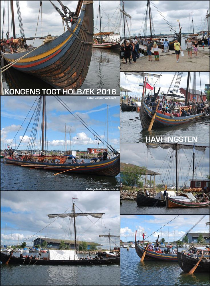 Collage with photos of the vikingship HAVHINGSTEN in Holbaek Juli 2016. Photos by Jesper Vandorf...