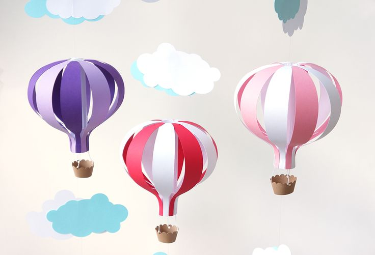 how to make a hot air balloon centerpiece | hot air balloon mobile kit includes pre cut card stock pieces to make ...