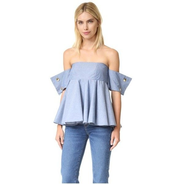 Viva Aviva French Cuff Ballerina Top (543.240 COP) ❤ liked on Polyvore featuring tops, denim chambray, button top, off the shoulder tops, off the shoulder short sleeve tops, blue short sleeve top and off shoulder tops