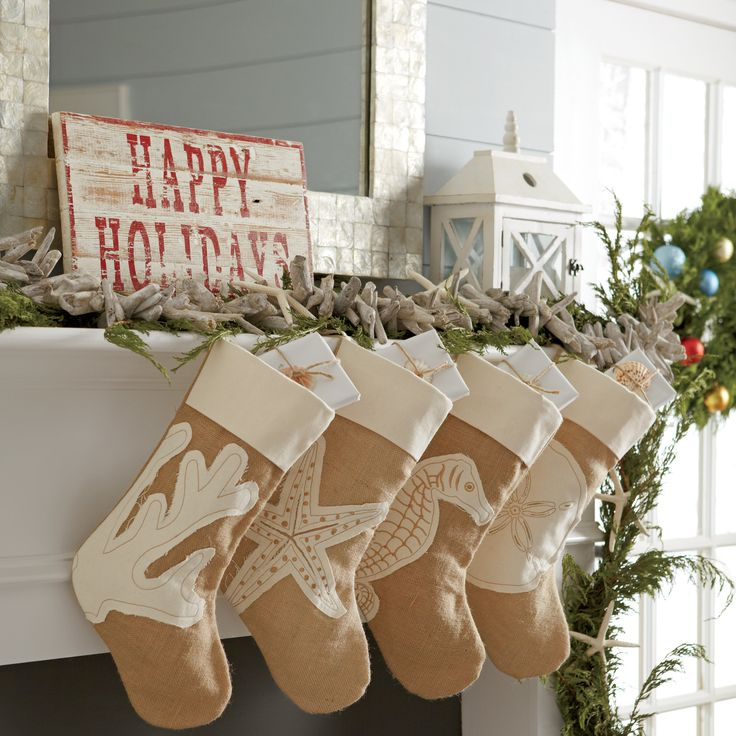 Coastal Stocking, Seahorse   This easy-to-hang natural burlap stocking adds a coastal element to your holiday decor.