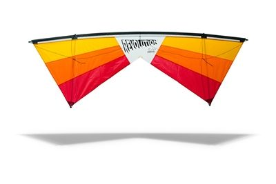 This is a Revolution EXP Stunt kite in the air showing it's color and features. It is a quad line stunt kite meaning it has four lines and two handles. Revolution is the best kite store to find premium and quality kites.