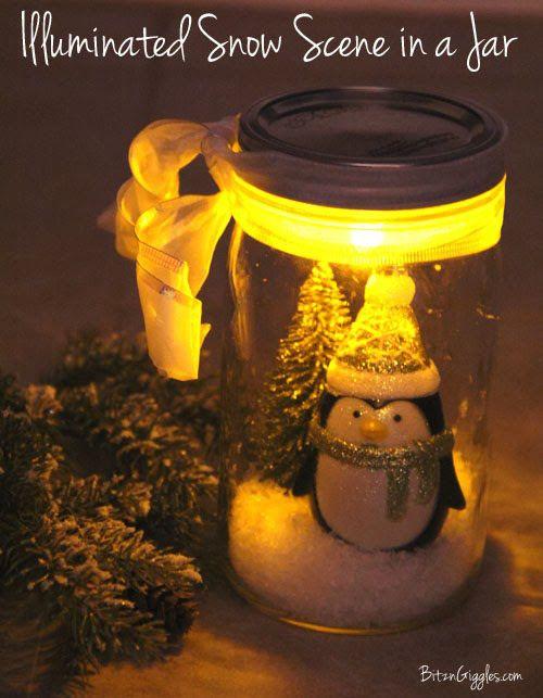 Illuminated Snow Scene in a Jar - 40 Fun & Pretty DIY Snowglobes to Make Yourself - Big DIY IDeas