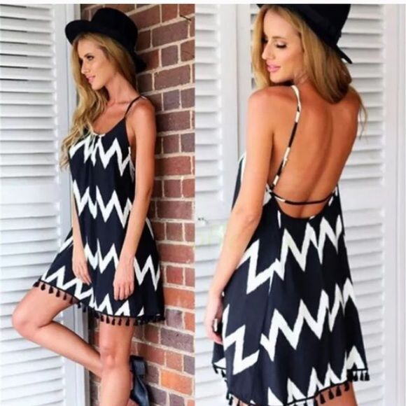 The Ariana grande chevron print dress Gorgeous chevron print sundress. Comes up to thigh, 200% polyester, dress is cut small so please order one size up then you usually take. Comes in s-xL Dresses Mini