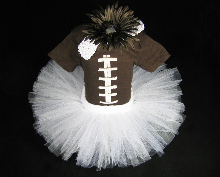 Baby Girl Outfit - Babys Gift Set - Football Tutu Outfit - Girls Tutu Bodysuit and Headband Set  -  Size 0 - 3  Months. $40.00, via Etsy.