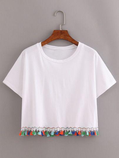 Camiseta franjeado de borlas -blanco
