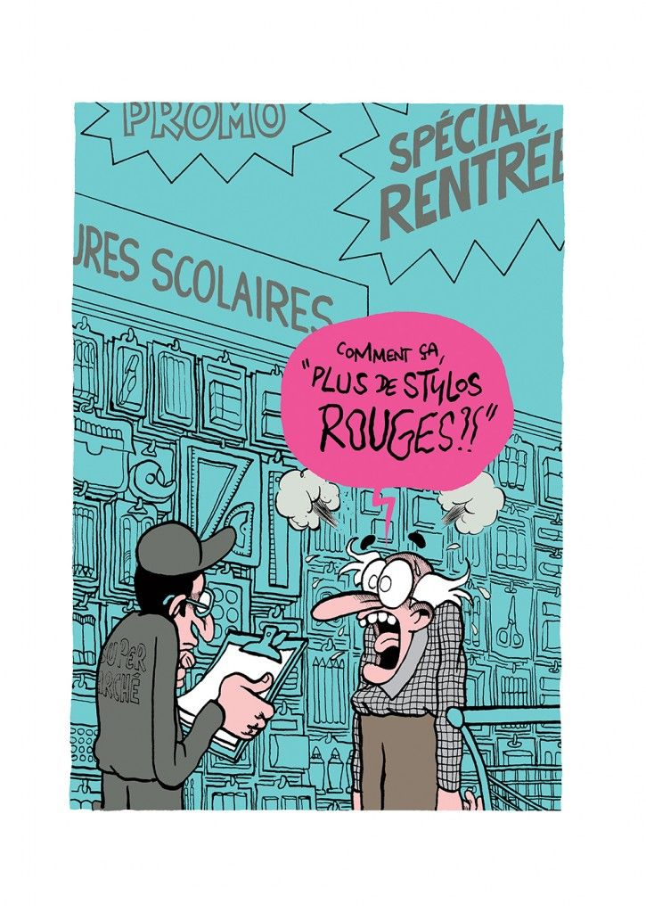 """""""La rentrée s'annonce mal !"""" par Fabrice Erre.  Concerns back-to-school shopping and interacting with store employees."""