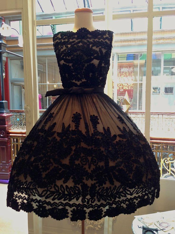 vintage black flocked dress