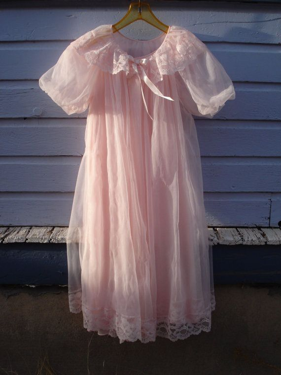 Vintage 1960s Peignoir Nightie Set Barbie Pink by bycinbyhand, $65.00