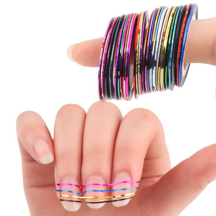 30 Pz Variopinti Misti Bellezza Rolls Striping Stickers Foil Consigli Nastro Linea di Design FAI DA TE Adesivi Nail Art per nail Strumenti decorazioni