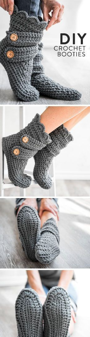 Looking for a fast weekend project? These double-strapped crochet booties work up in no time holding two strands of yarn together.