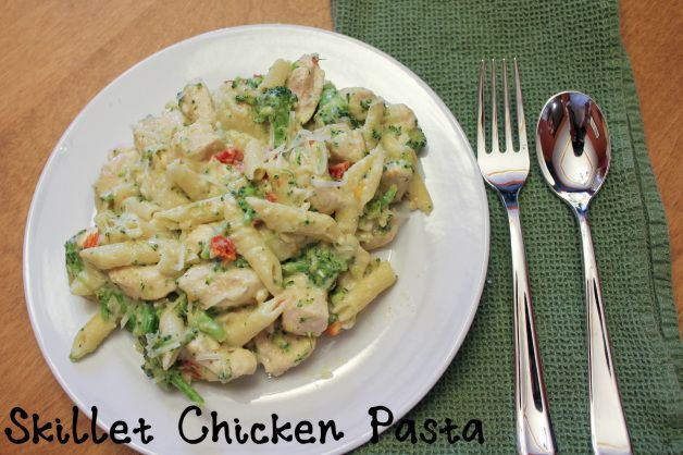 Skillet Chicken Pasta with Broccoli and Sun-Dried Tomatoes (one pan meal)