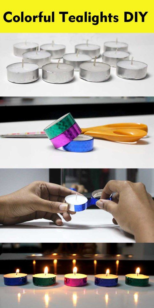 india colorful tealights diwali DIY easy decoration deepawali