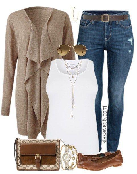 Plus Size Waterfall Cardigan Outfit - Plus Size Fashion for Women - alexawebb.com #alexawebb