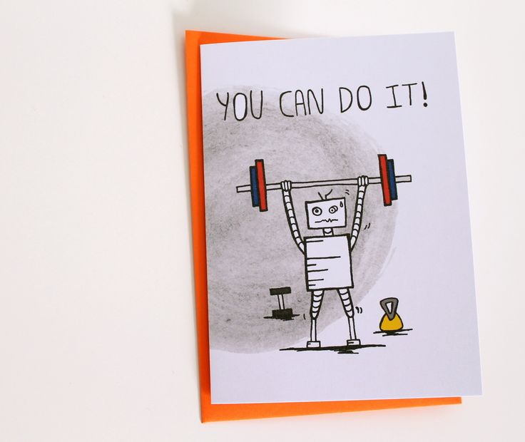 You Can Do It, Exercise Robot Card, Encouragement Card, Robot Fitness, Transformation Card, Personal Training, Fitness Goal