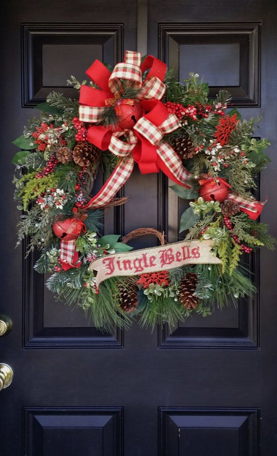 Traditional Christmas Wreath, Jingle Bell Wreath, Red and Green Wreath, Door Wreath, Grapevine Christmas Wreath,  Banner Wreath