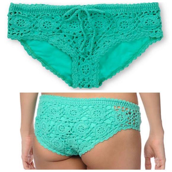 Praia motim Jaquetas e casacos - Praia de motim verde da hortelã Crochet Bikini / Swimwear