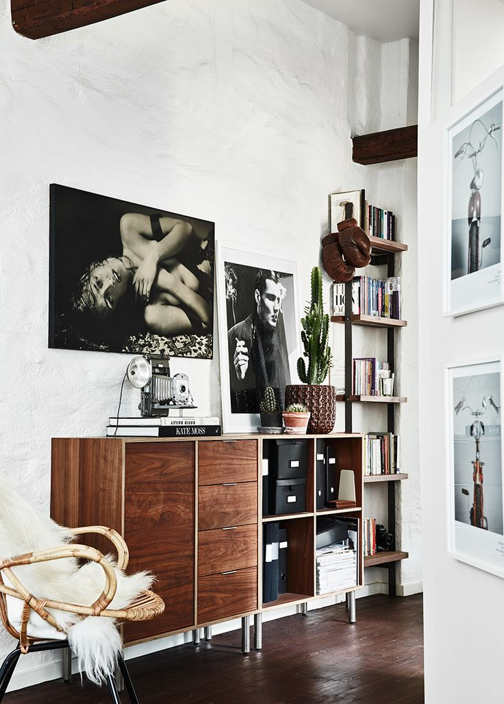 Photographer Kalle Gustafsson apartment styled by Dusty Deco with vintage interior. Photo art, hallway, dark wooden floors, home decor...