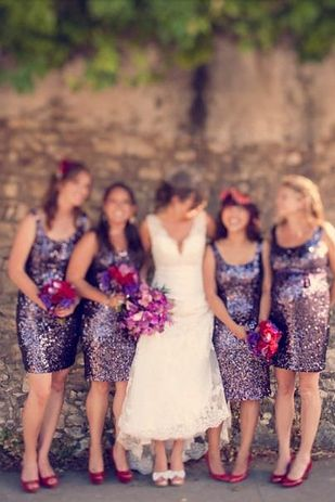 The link is great,  but mainly enthralled by these lavender sequin dresses worn with red shoes