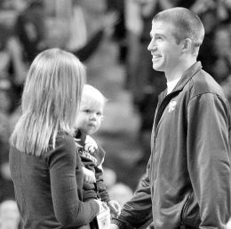 Jordy Nelson with his wife and son