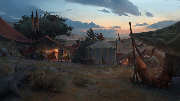 Acaratus - Camp Dusk Backdrop -, Klaus Pillon on ArtStation at https://www.artstation.com/artwork/3ro0g